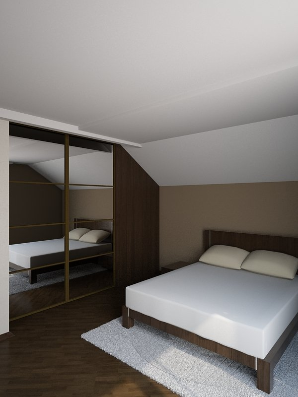 Дизайн интерьера спальни, комната со скатом