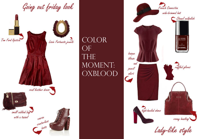 oxblood collage