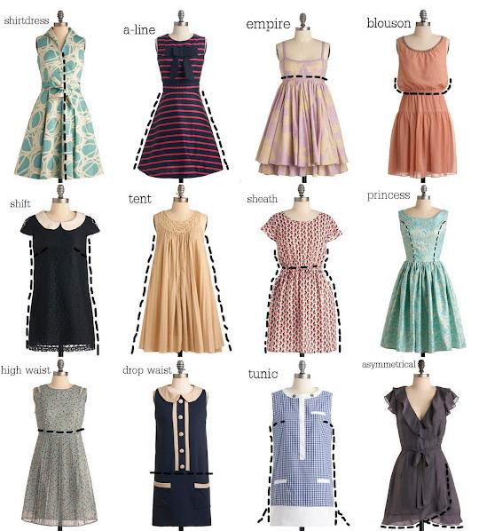 Платья разных фасонов