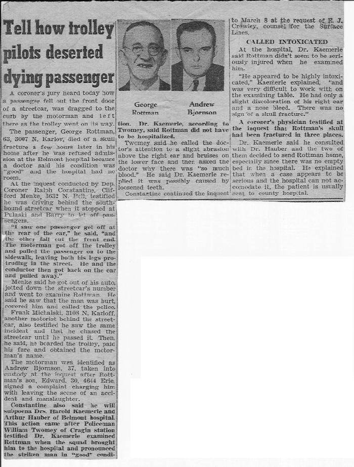 ROTTMAN, George ROTTMAN Article, Tell How Trolley Pilots Deserted Dying Passenger