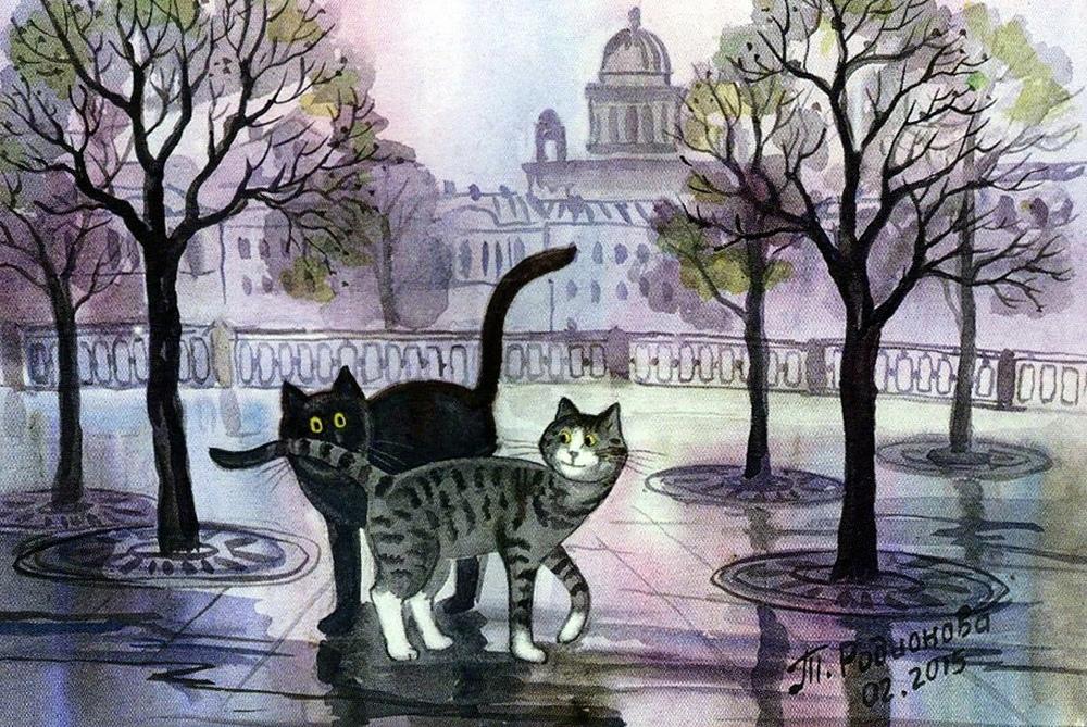 Питерские коты художницы Татьяны Родионовой.