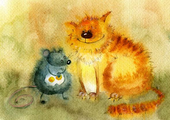 Солнечные, добрые, акварельные коты от Виктории Кирдий.