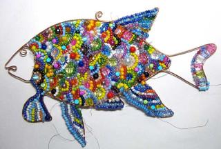 "Рыба из бисера = Master Class  ""Fish made from wire and beads "".  Чем старше и мудрее человек,тем меньше ему хочется..."