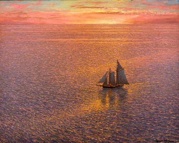 розовый закат и корабль