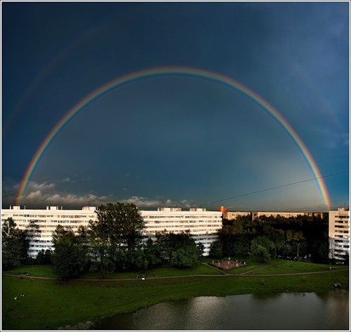 дождь - полукольцо радуги