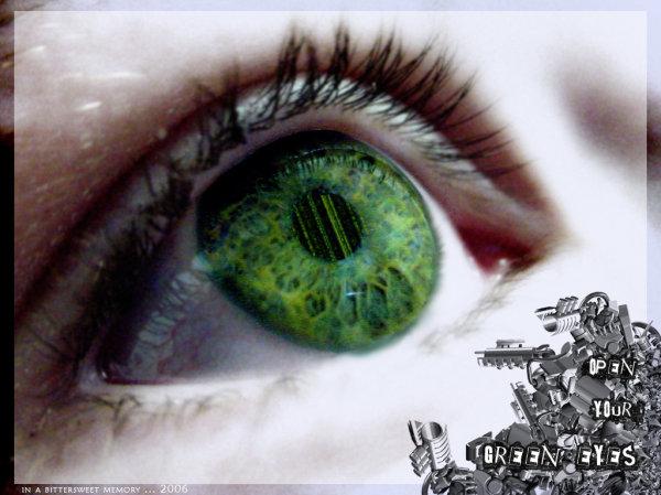 Зеленые глаза.