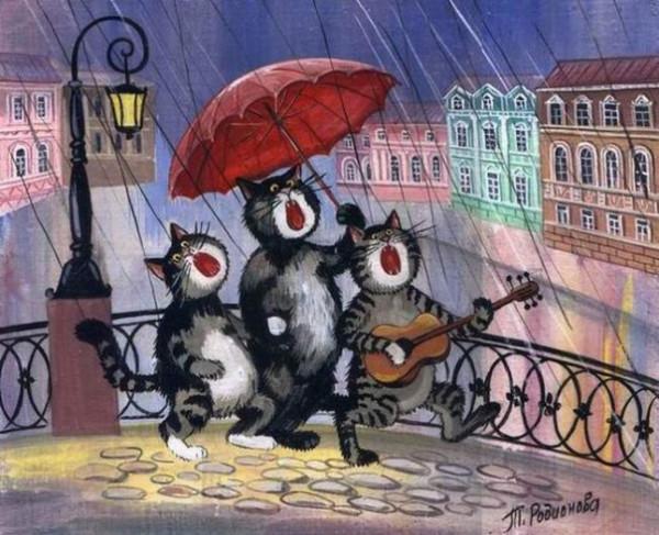 кошачье трио под дождем
