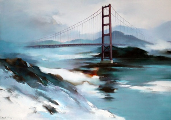Hong_Leung_Golden_Gate_Bridge_1977_36x48_San_Francisco