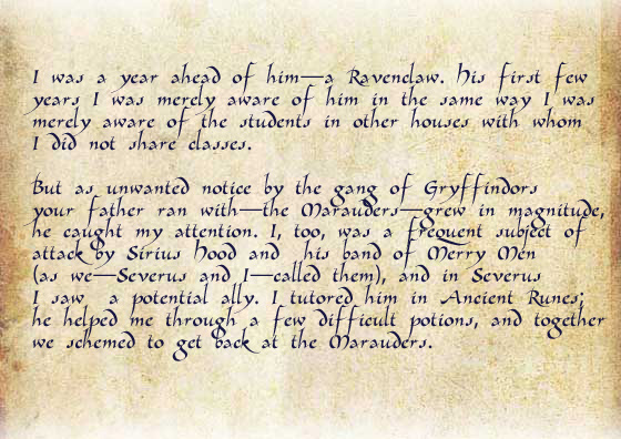 I was a year ahead of him—a Ravenclaw. His first few years I was merely aware of him in the same way I was merely aware of the students in other houses with whom I did not share classes. But as unwanted notice by the gang of Gryffindors your father ran with—the Marauders—grew in magnitude, he caught my attention. I, too, was a frequent subject of attack by Sirius Hood and his band of Merry Men (as we—Severus and I—called them), and in Severus I saw a potential ally. I tutored him in Ancient Runes; he helped me through a few difficult potions, and together we schemed to get back at the Marauders.