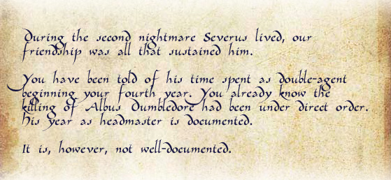 During the second nightmare Severus lived, our friendship was all that sustained him.  br /<br /> You have been told of his time spent as double-agent beginning your fourth year. You already know the killing of Albus Dumbledore had been under direct order. His year as headmaster is documented.  br /<br /> It is, however, not well-documented.