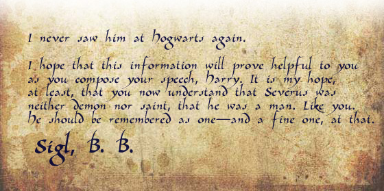 I never saw him at Hogwarts again.  br /<br />