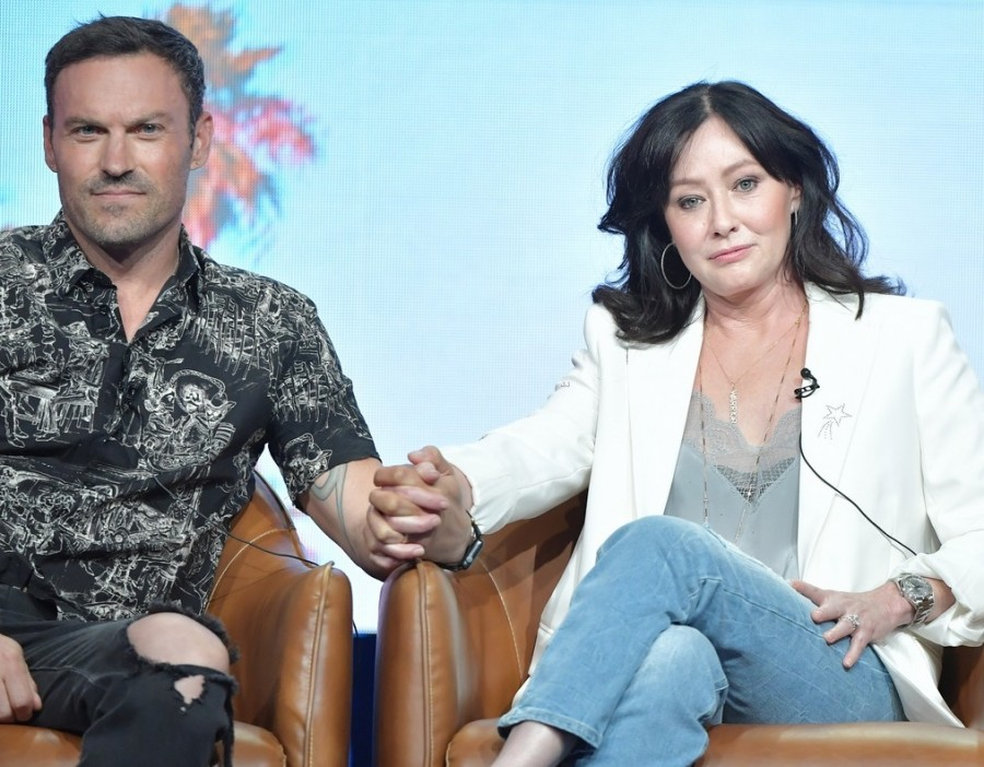 Актеры на Summer TCA Press Tour hannen doherty,tori spelling,ian ziering,jennie garth,brian austin green