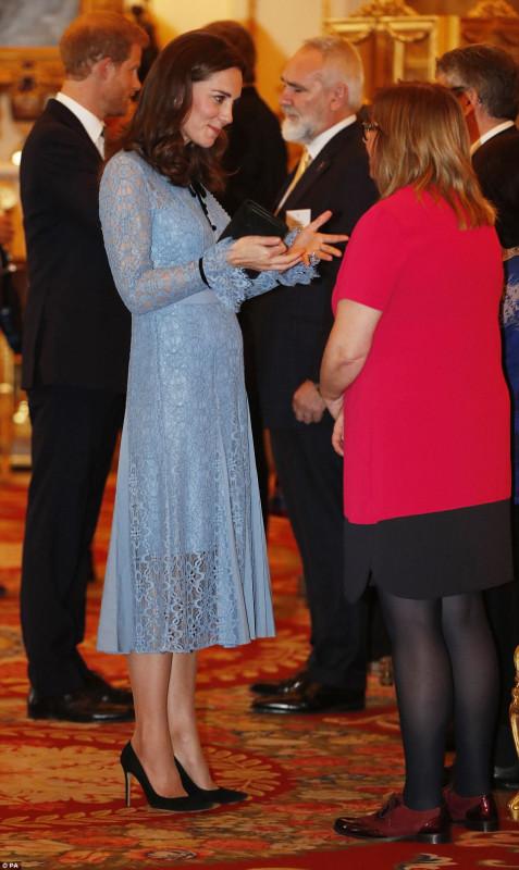 Уильям, Гарри и Кейт на приеме в Букингемском дворце