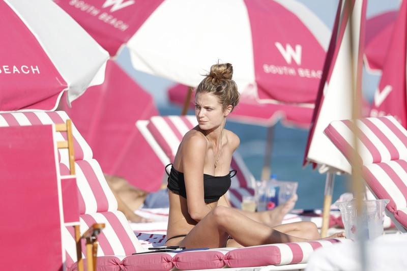 Модель Кейт Бок на пляже отдыха, Майами, время, неделе, модель, прошлой, Канадская