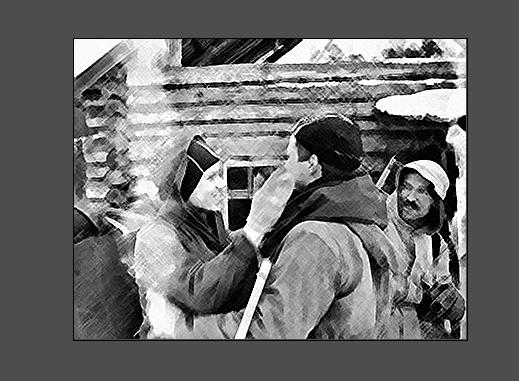 Прощание с Юрием Юдиным. Рисунок по фото из последнего похода группы Игоря Дятлова.