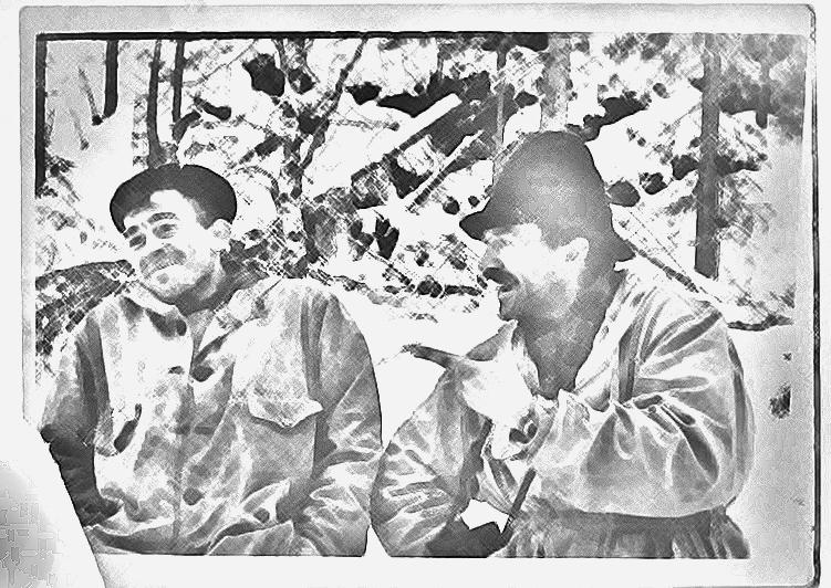 Николай Тибо-Бриньоль и Семен Золотарев. Тибо вроде бы хорошо переносил рельеф местности на самодельные карты. Так и рисовать мог хорошо. Рисунок по фото из последнего похода группы Дятлова.