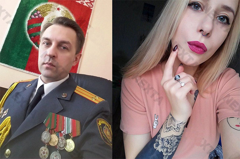 Милицейский подполковник и Алина Алдошина. Фото: Nexta.