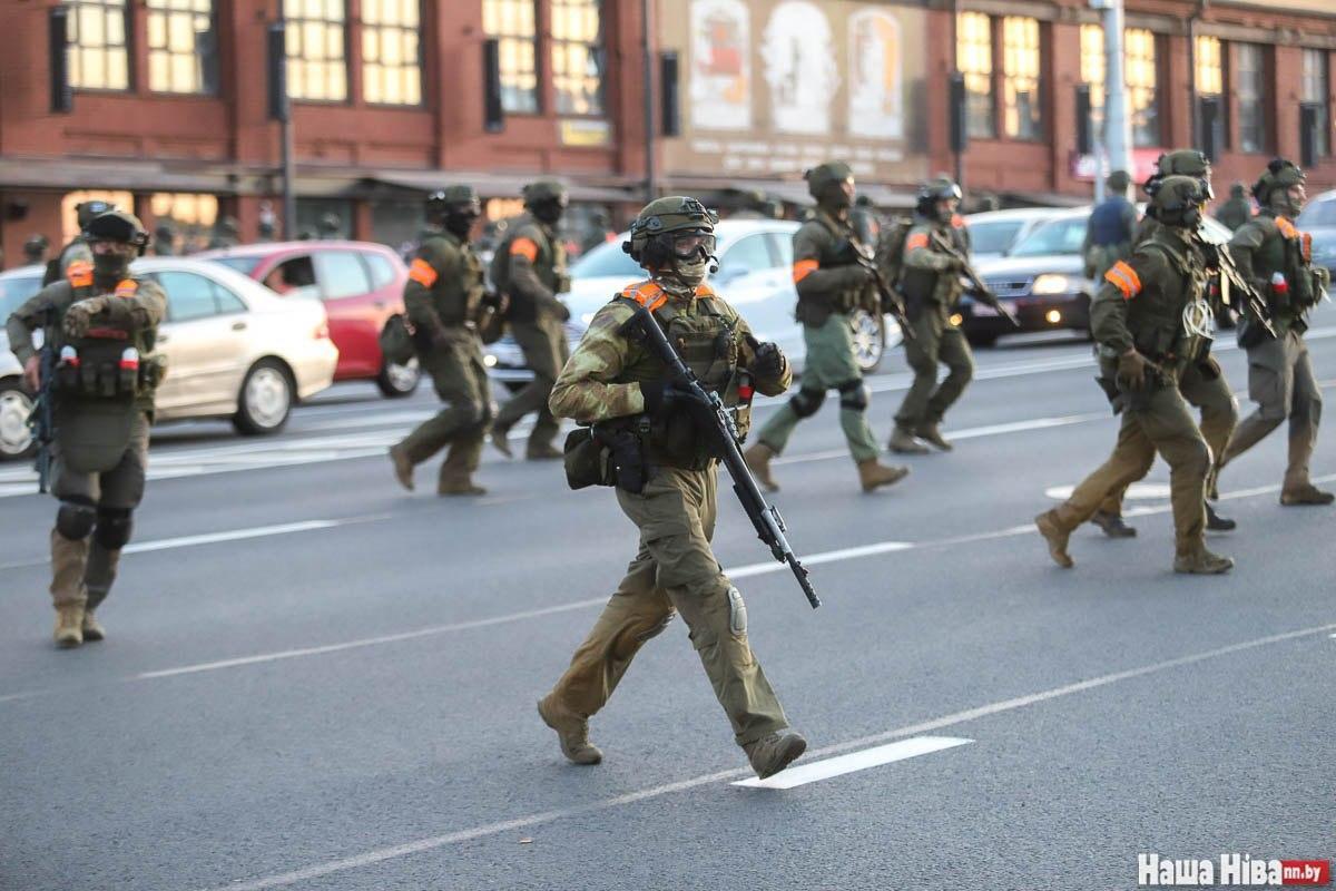 Белорусское милицейское спецподразделение в 2020 году на улицах Минска. Фото: Наша Нива.