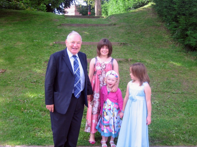 Brian with the Summerhayes girls at Olli's Christening, 2008