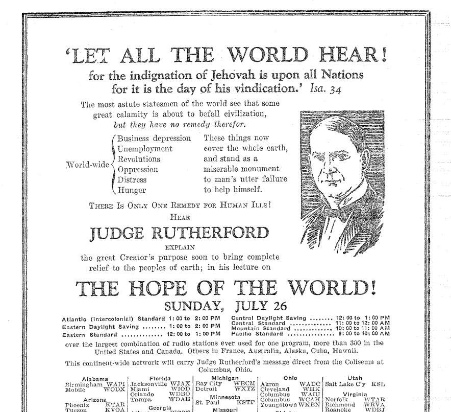 Зол Век 1931 Июль_1 (Темы и реклама выступлений Рутерфорда по радио)