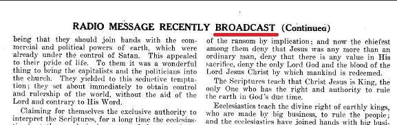 Бродкастинги СИ при Рутерфорде (издание о конгрессе в Торонто 1927 года)