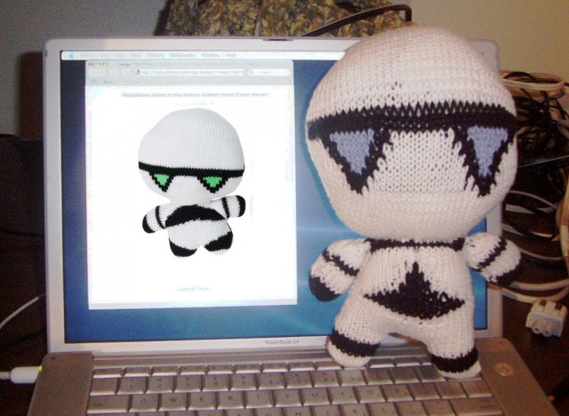 Marvin the Paranoid Knitted Doll