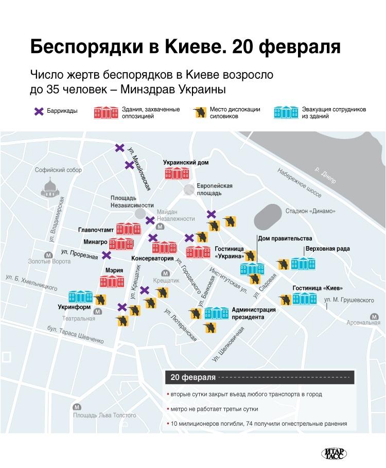 Инфографика ИТАР-ТАСС Беспорядки 20 февраля в Киеве