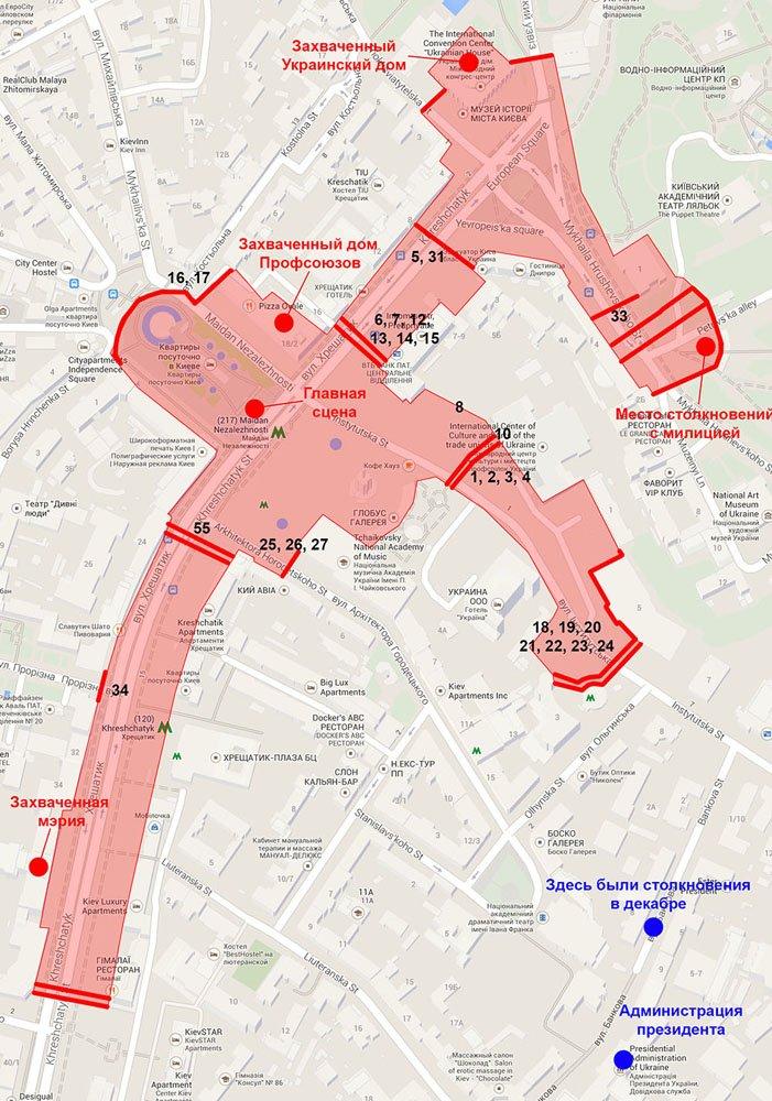 Майдан на 27 января карта