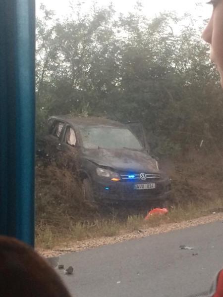 Момент аварии с участием президента Молдавии