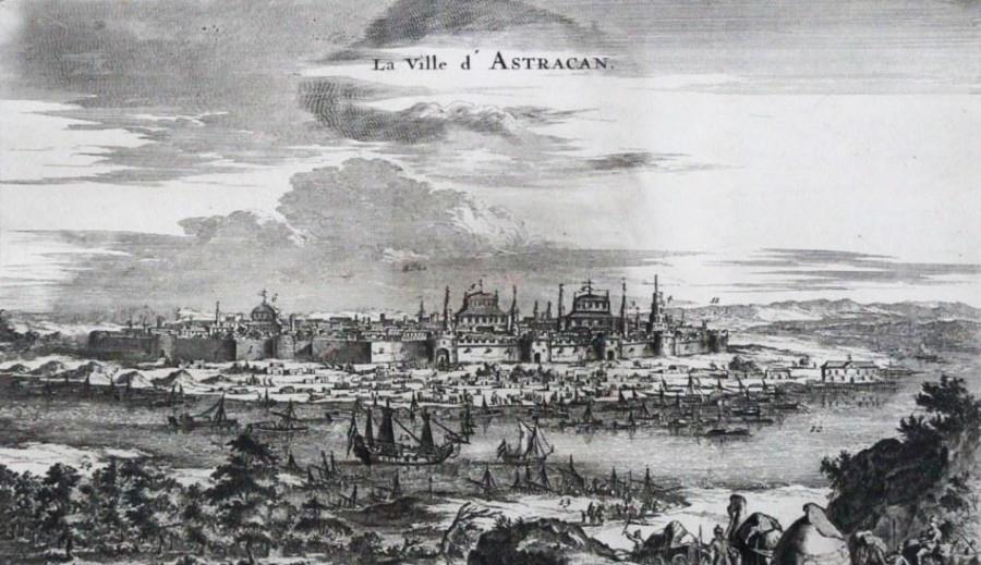Конраад Деккер. Вид города Астрахани и фрегата «Орёл» с флотилией. XVII век.