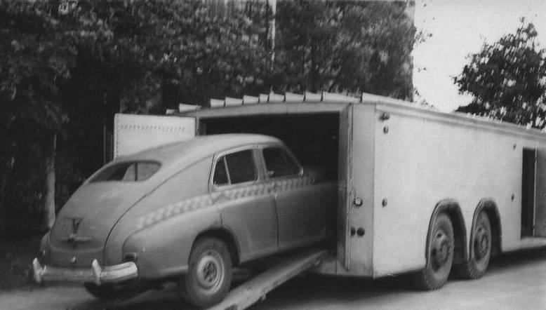 Второй экспериментальный автопоезд А-820 в истории СССР (погрузка автомобилей на первый ярус)