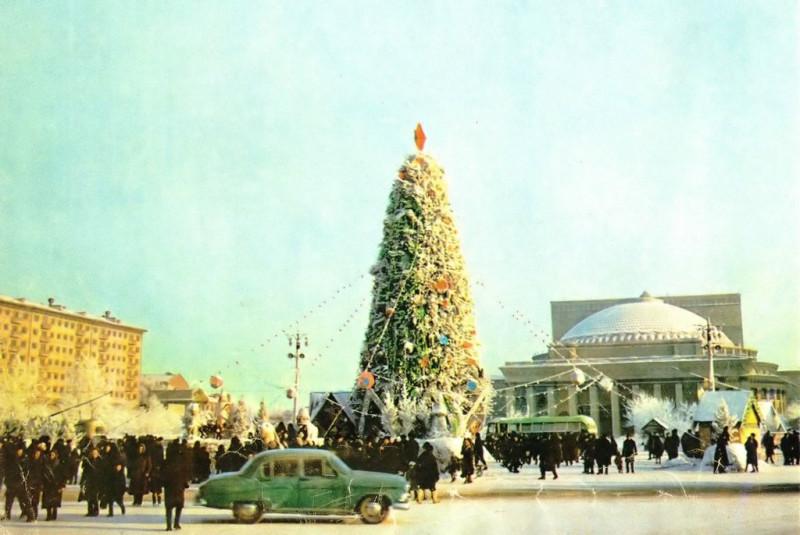 Новосибирск 1963-64. Центральная Ёлка, Театр Оперы и Балета, Волга ГАЗ-21