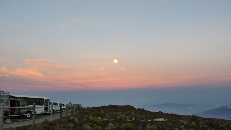 Haleakala Moon during Sunrise