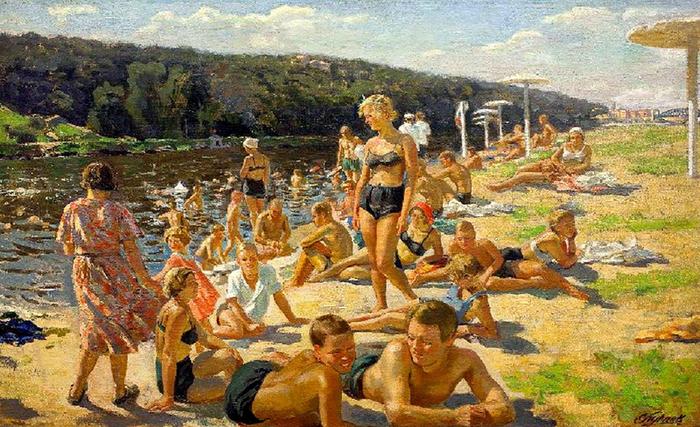С.М. Луппов (1893-1977). Пляж на Москве-реке (близ Ленинских гор). 1937 г.