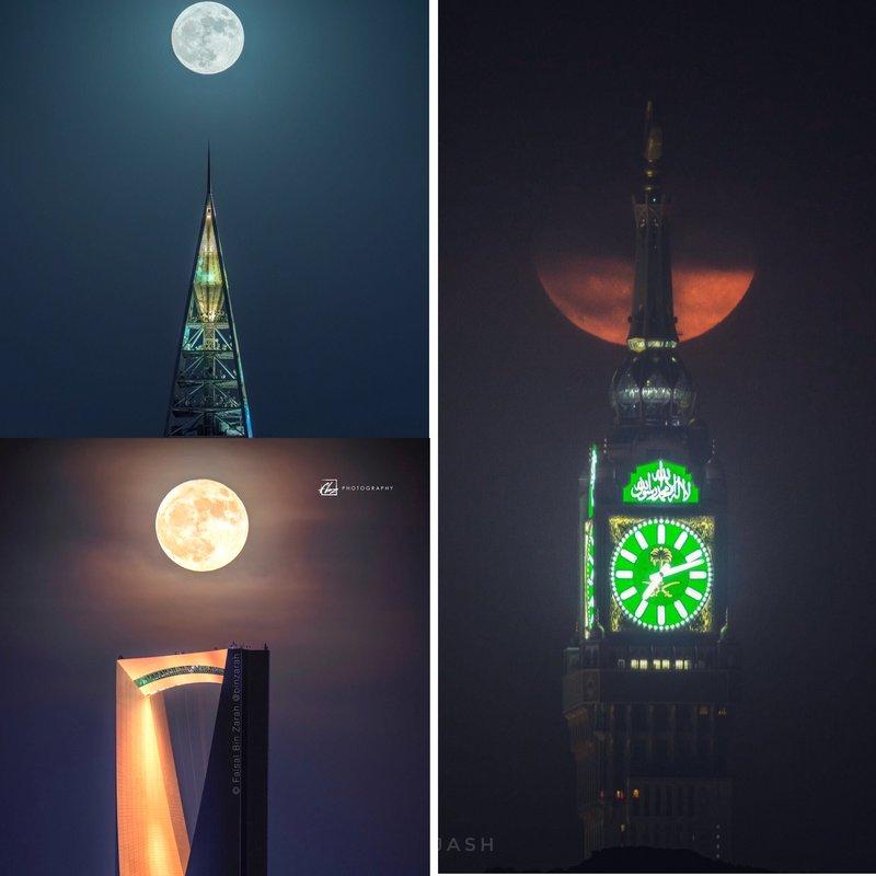 Момент стояния полной Луны над часовой башней Мекки, башнями «Королевство» и «Фейсалия»
