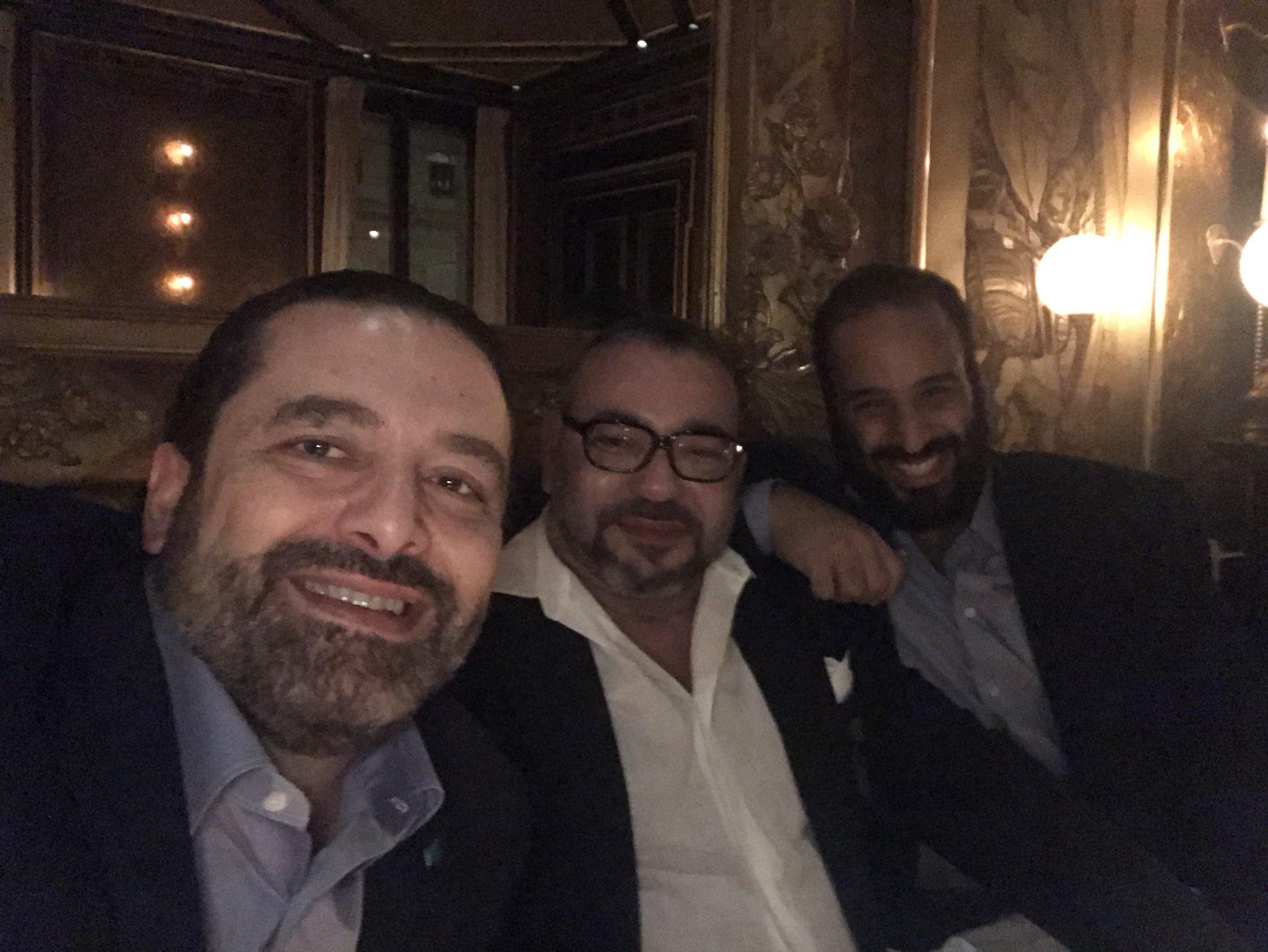 Саад аль-Харири разместил в Twitter совместную фотографию с наследным принцем и Королём Марокко в Париже