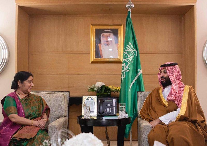 Наследный принц обсудил двусторонние отношения с Сушма Сварадж