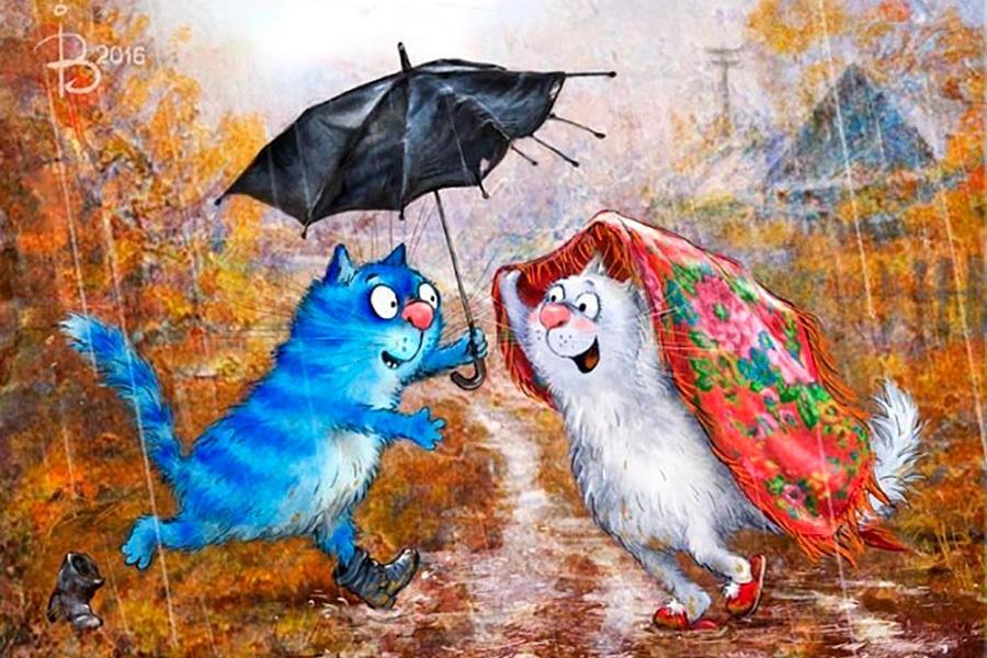 Открытка, прикольная картинка про дождик