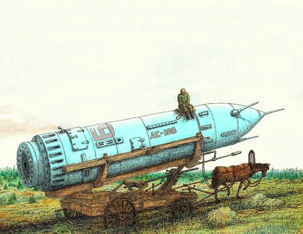 карикатура_ракета_на_телеге