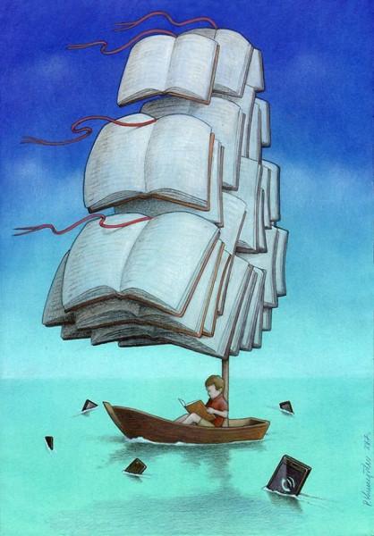 карикатура_Kuczynski_Pawel_20017_книги_парусник