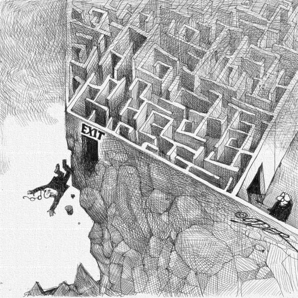карикатура_exit_лабиринт_б
