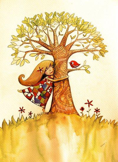 Дерево и птичка.