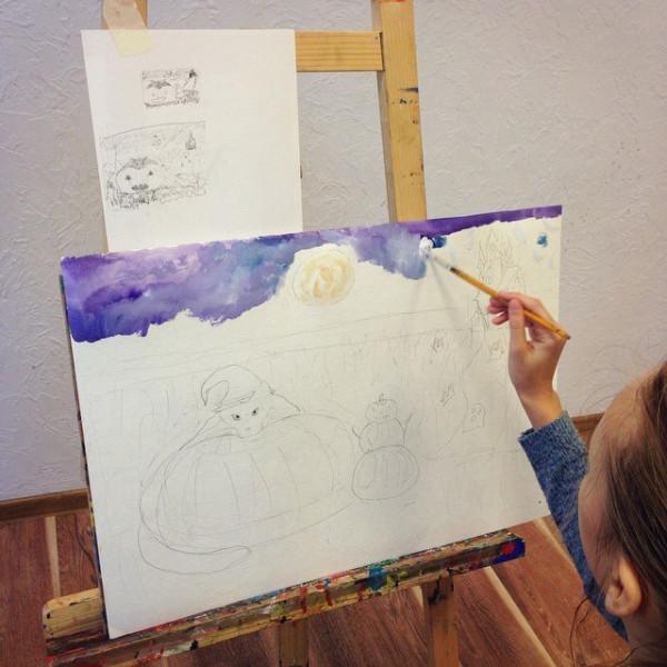 /одна из последних артвстреч с детьми - рисуют хеллоуин/