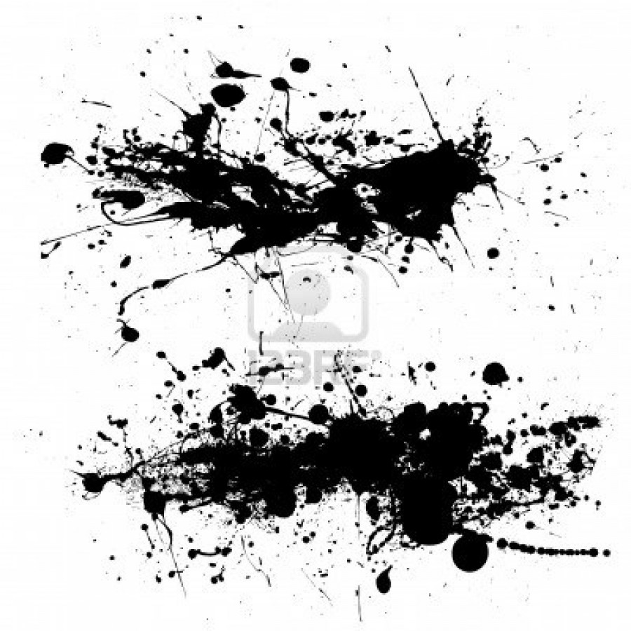 6085718-two-ink-splat-designs-with-dribble-and-paint-spots
