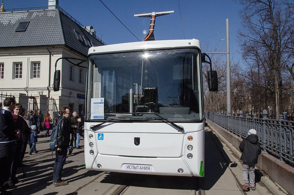 Электробус КАМАЗ на параде трамваев