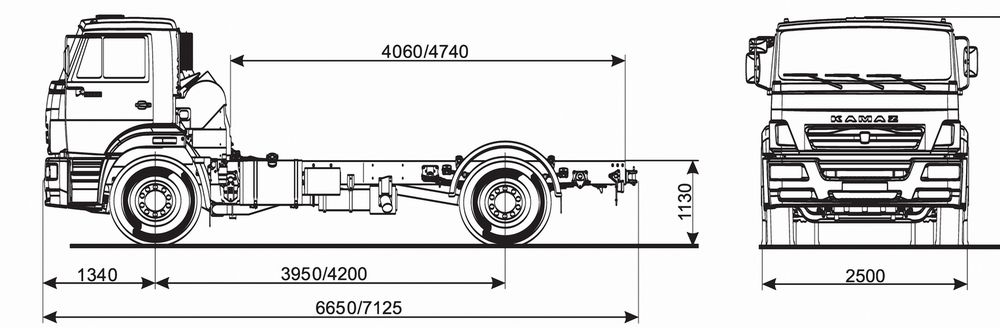 Размеры даны для шасси снаряжённой массы. В скобках указан размер для комплектации с высокой крышей