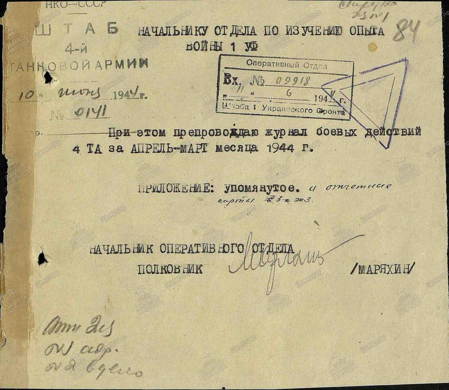 Журнал боевых действий советской 4-й танковой армии. Март-апрель 1944 года