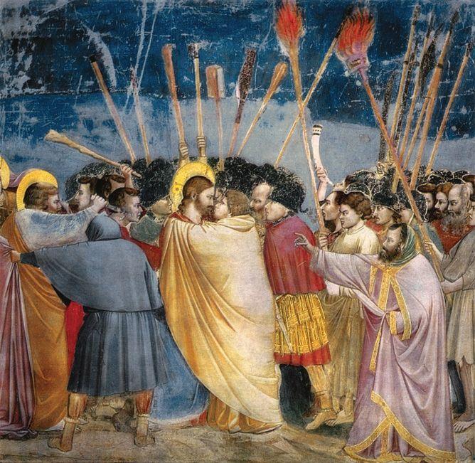 """Фреска Джотто """"Поцелуй Иуды"""", 1303-05 гг, Падуя."""