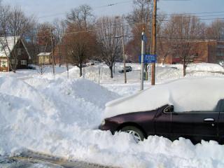 Snowbound parking lot