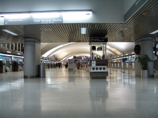 Vacant ticket counters in the Main Terminal of Lambert-St. Louis International Airport
